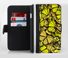 The Yellow Butterfly Bundle Ink-Fuzed Leather Folding Wallet Credit-Card Case for the Apple iPhone 6/6s, 6/6s Plus, 5/5s and 5c