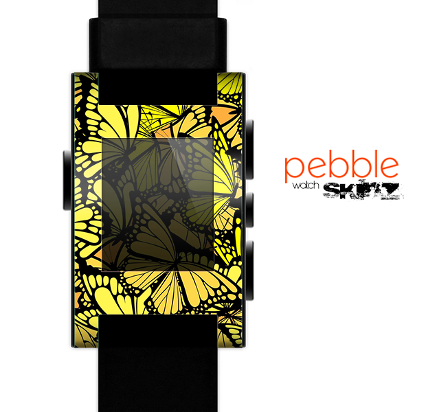 The Yellow Butterfly Bundle Skin for the Pebble SmartWatch