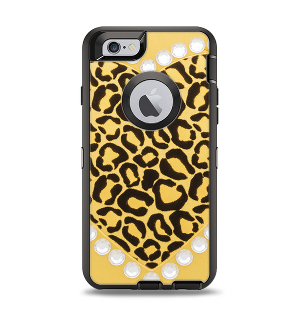 The Yellow Heart Shaped Leopard Apple iPhone 6 Otterbox Defender Case Skin Set