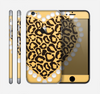 The Yellow Heart Shaped Leopard Skin for the Apple iPhone 6