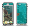 The Yellow Lace and Flower on Teal Apple iPhone 5-5s LifeProof Nuud Case Skin Set