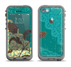 The Yellow Lace and Flower on Teal Apple iPhone 5c LifeProof Fre Case Skin Set