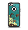 The Yellow Lace and Flower on Teal Apple iPhone 5c Otterbox Defender Case Skin Set