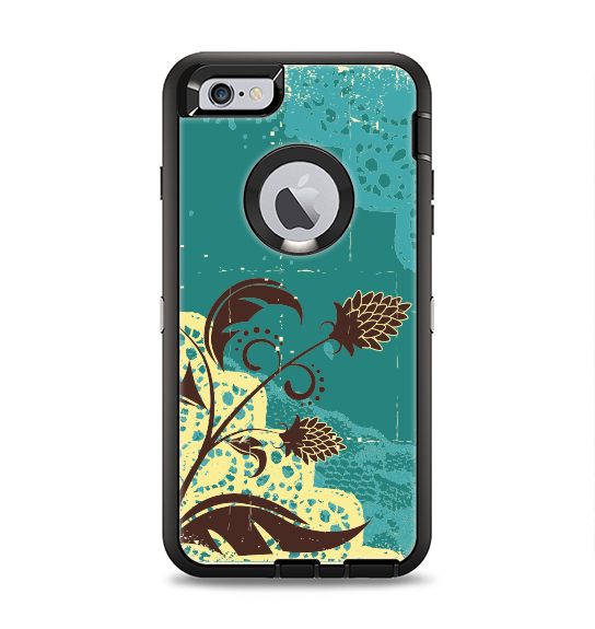 The Yellow Lace and Flower on Teal Apple iPhone 6 Plus Otterbox Defender Case Skin Set
