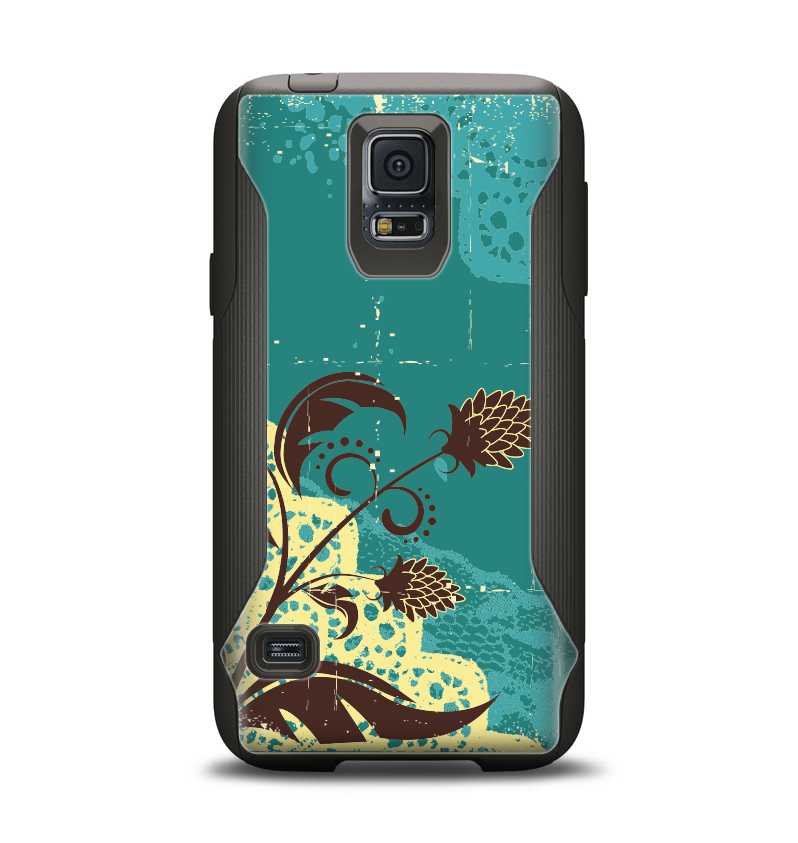 The Yellow Lace and Flower on Teal Samsung Galaxy S5 Otterbox Commuter Case Skin Set