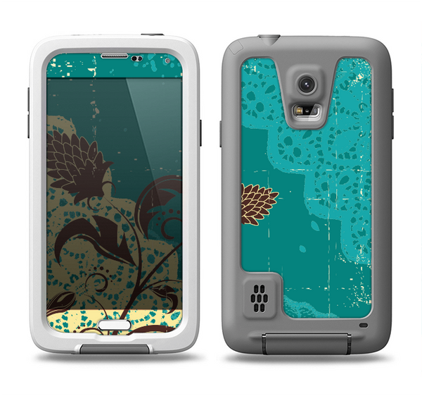The Yellow Lace and Flower on Teal Samsung Galaxy S5 LifeProof Fre Case Skin Set