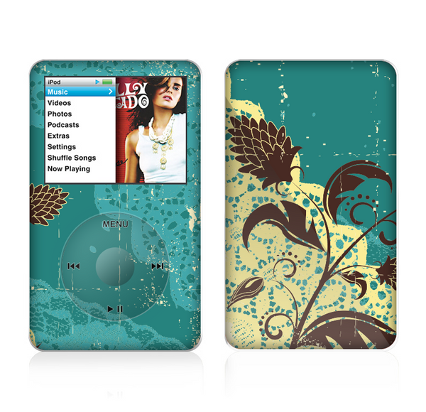 The Yellow Lace and Flower on Teal Skin For The Apple iPod Classic