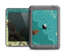 The Yellow Lace and Flower on Teal Apple iPad Air LifeProof Fre Case Skin Set