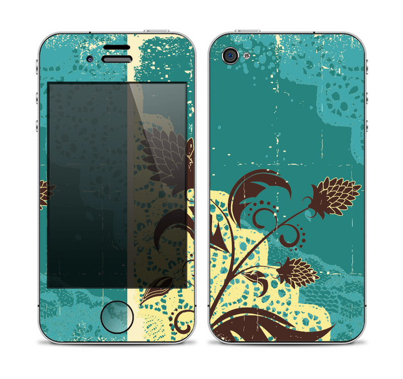 The Yellow Lace and Flower on Teal Skin for the Apple iPhone 4-4s