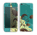 The Yellow Lace and Flower on Teal Skin for the Apple iPhone 5c