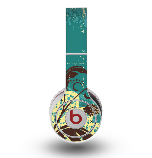 The Yellow Lace and Flower on Teal Skin for the Original Beats by Dre Wireless Headphones