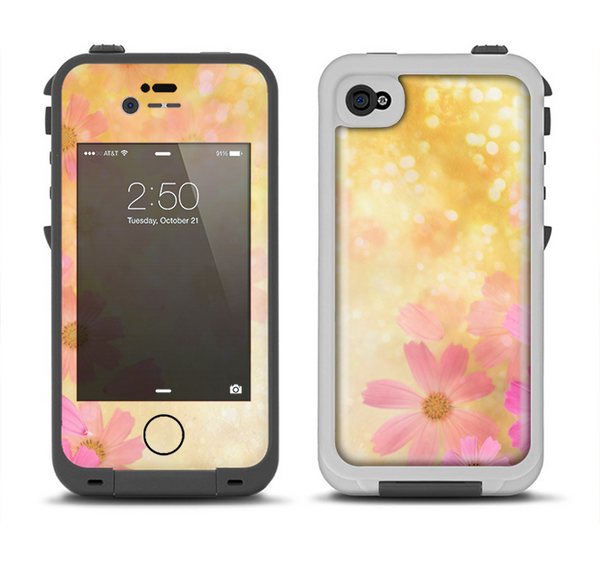The Yellow & Pink Flowerland Apple iPhone 4-4s LifeProof Fre Case Skin Set