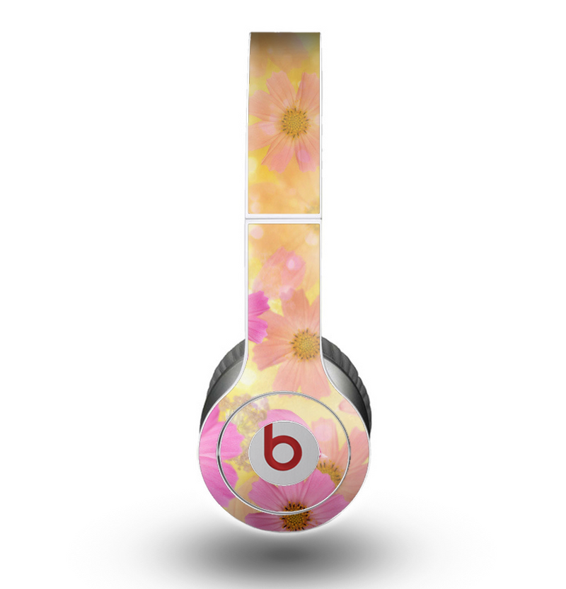 The Yellow & Pink Flowerland Skin for the Beats by Dre Original Solo-Solo HD Headphones
