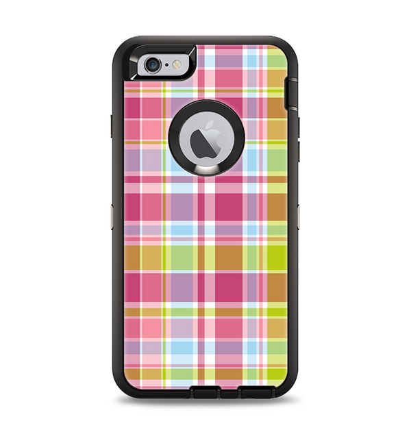 The Yellow & Pink Plaid Apple iPhone 6 Plus Otterbox Defender Case Skin Set