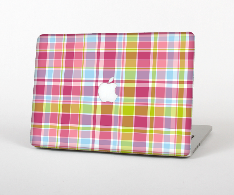 "The Yellow & Pink Plaid Skin Set for the Apple MacBook Pro 15"" with Retina Display"