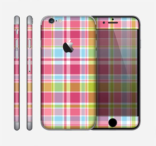 The Yellow & Pink Plaid Skin for the Apple iPhone 6