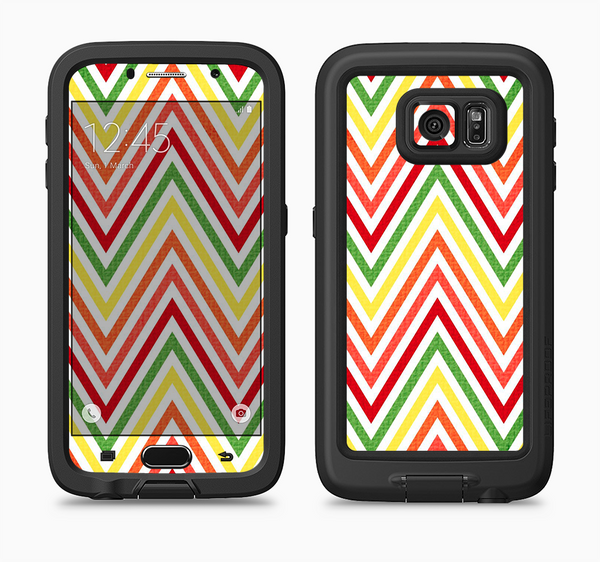 The Yellow & Red Vintage Chevron Pattern Full Body Samsung Galaxy S6 LifeProof Fre Case Skin Kit