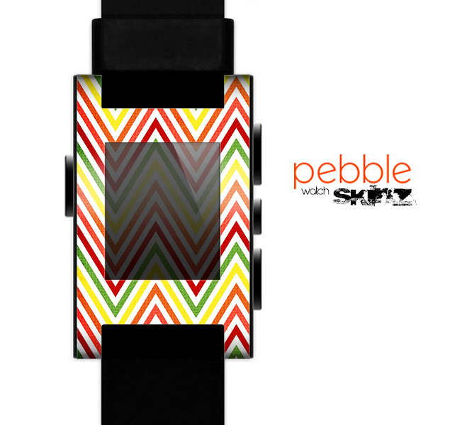 The Yellow & Red Vintage Chevron Pattern Skin for the Pebble SmartWatch