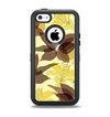 The Yellow and Brown Pastel Flowers Apple iPhone 5c Otterbox Defender Case Skin Set