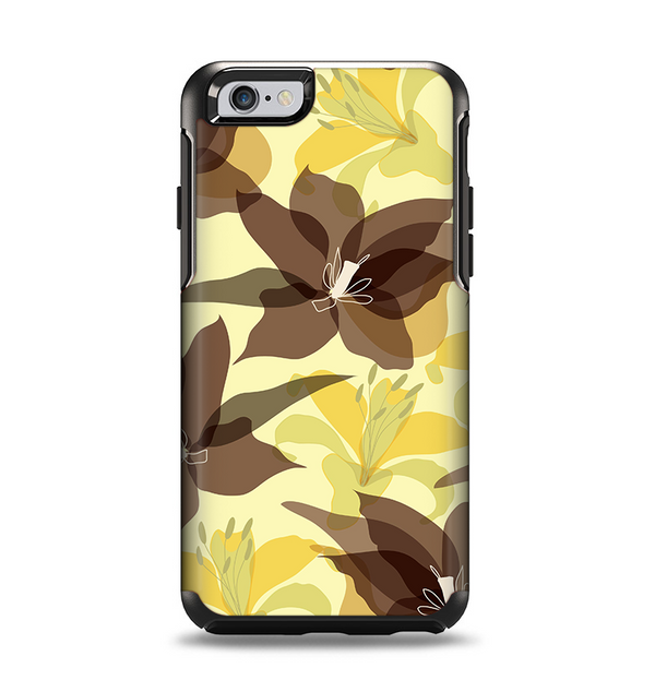The Yellow and Brown Pastel Flowers Apple iPhone 6 Otterbox Symmetry Case Skin Set