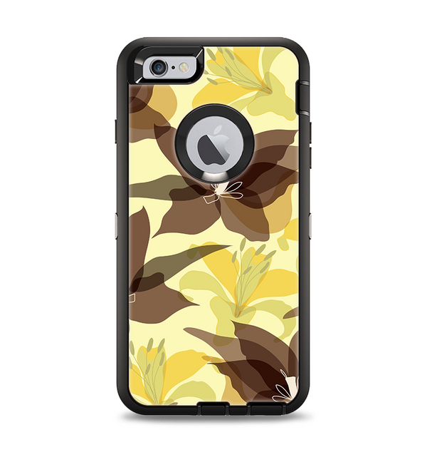 The Yellow and Brown Pastel Flowers Apple iPhone 6 Plus Otterbox Defender Case Skin Set