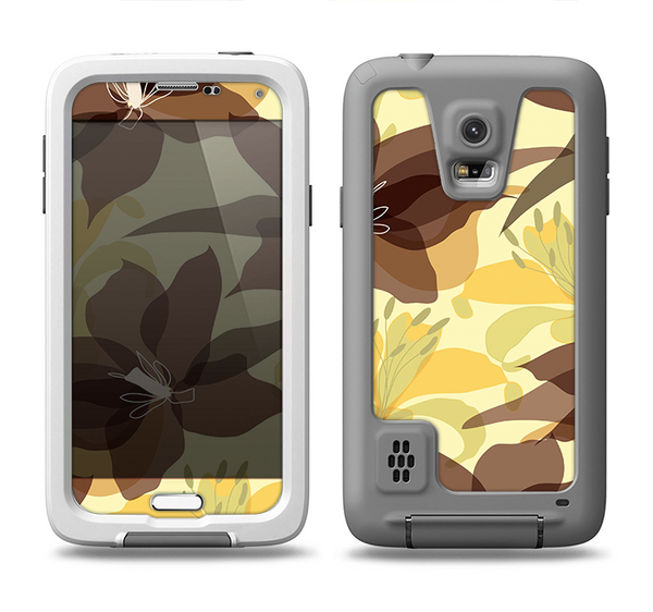 The Yellow and Brown Pastel Flowers Samsung Galaxy S5 LifeProof Fre Case Skin Set