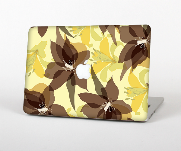 "The Yellow and Brown Pastel Flowers Skin Set for the Apple MacBook Pro 13"" with Retina Display"