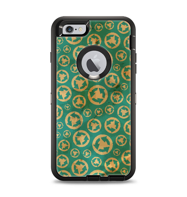 The Yellow and Green Recycle Pattern Apple iPhone 6 Plus Otterbox Defender Case Skin Set