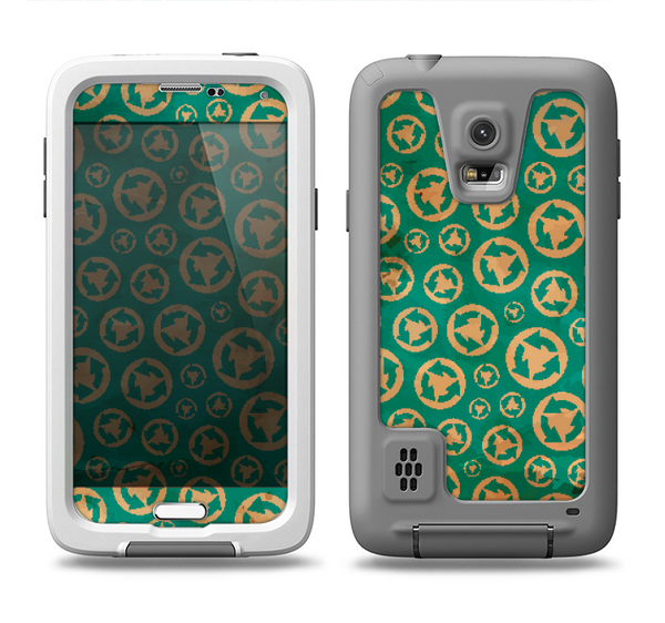 The Yellow and Green Recycle Pattern Samsung Galaxy S5 LifeProof Fre Case Skin Set