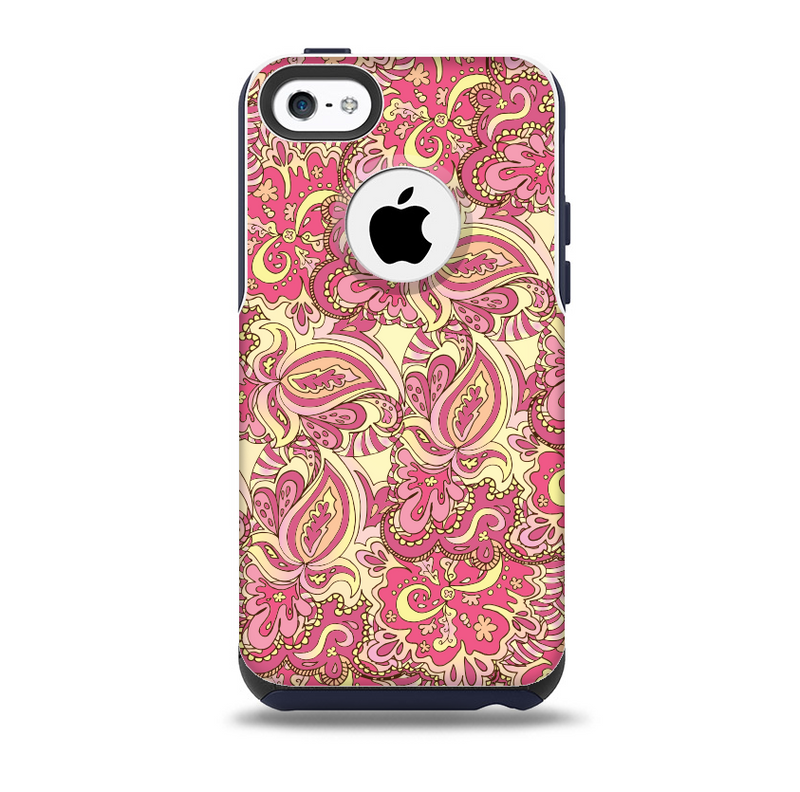 The Yellow and Pink Paisley Floral Skin for the iPhone 5c OtterBox Commuter Case
