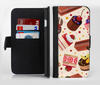 The Yummy Dessert Pattern Ink-Fuzed Leather Folding Wallet Credit-Card Case for the Apple iPhone 6/6s, 6/6s Plus, 5/5s and 5c