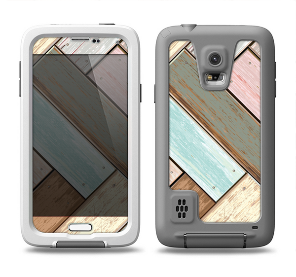 The Zigzag Vintage Wood Planks Samsung Galaxy S5 LifeProof Fre Case Skin Set