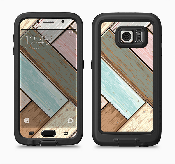 The Zigzag Vintage Wood Planks Full Body Samsung Galaxy S6 LifeProof Fre Case Skin Kit