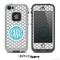 The Teal and Gray Custom Monogram Polka Dot Skin for the iPhone 5 or 4/4s LifeProof Case