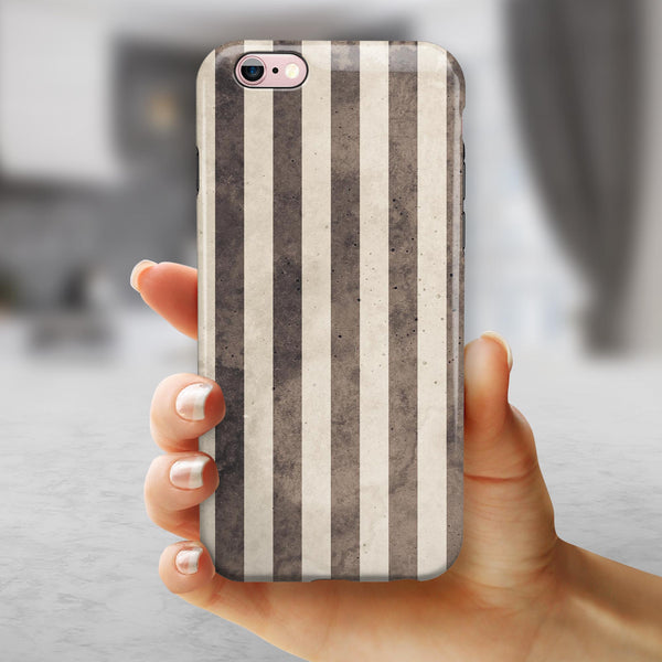 Transparent Clouds on Black and White Verticle Stripes iPhone 6/6s or 6/6s Plus 2-Piece Hybrid INK-Fuzed Case