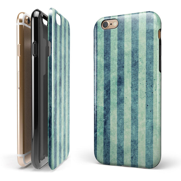Transparent Clouds on Navy and Teal Verticle Stripes iPhone 6/6s or 6/6s Plus 2-Piece Hybrid INK-Fuzed Case