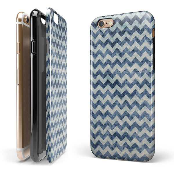 Transparent Clouds over Navy and Blue Chevron iPhone 6/6s or 6/6s Plus 2-Piece Hybrid INK-Fuzed Case