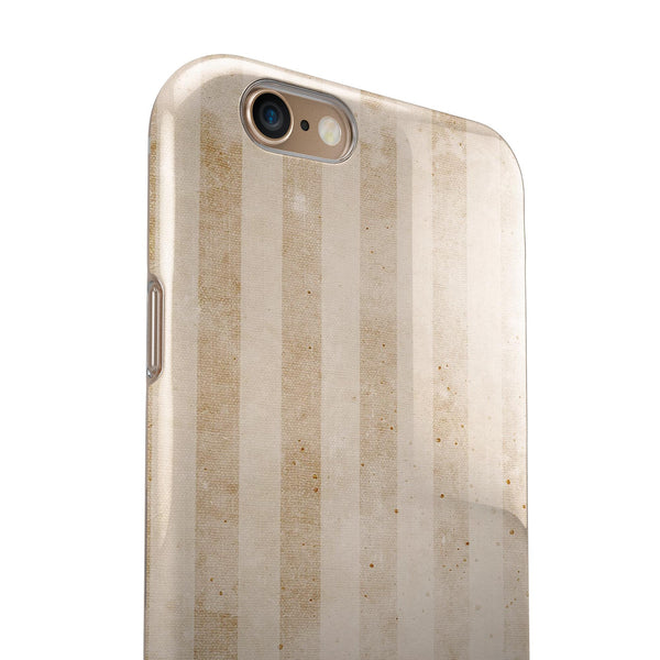 Transparent Clouds over Orange and White Vertical Stripes iPhone 6/6s or 6/6s Plus 2-Piece Hybrid INK-Fuzed Case
