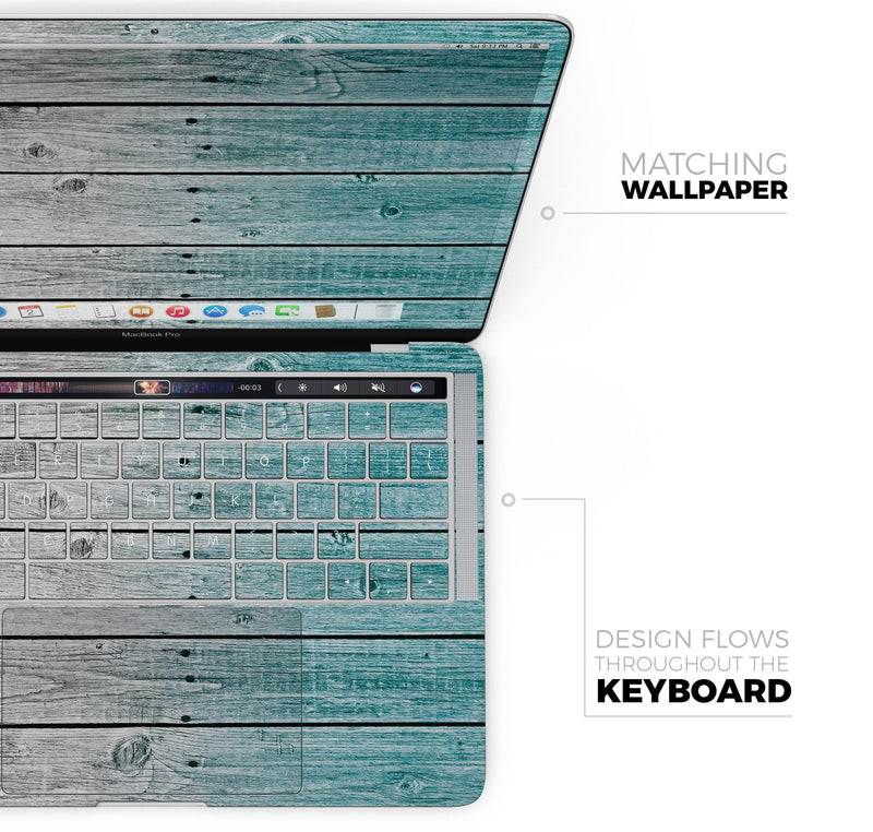 "Trendy Teal to White Aged Wood Planks - Skin Decal Wrap Kit Compatible with the Apple MacBook Pro, Pro with Touch Bar or Air (11"", 12"", 13"", 15"" & 16"" - All Versions Available)"