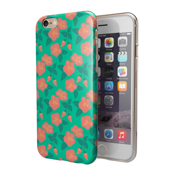 Tropical Coral Floral v1 iPhone 6/6s or 6/6s Plus 2-Piece Hybrid INK-Fuzed Case