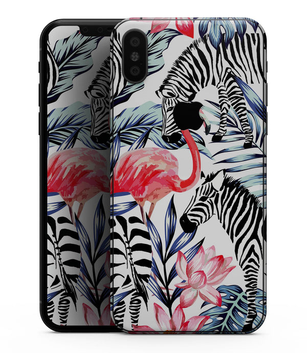 Tropical Flamingo and Zebra Jungle - iPhone XS MAX, XS/X, 8/8+, 7/7+, 5/5S/SE Skin-Kit (All iPhones Available)