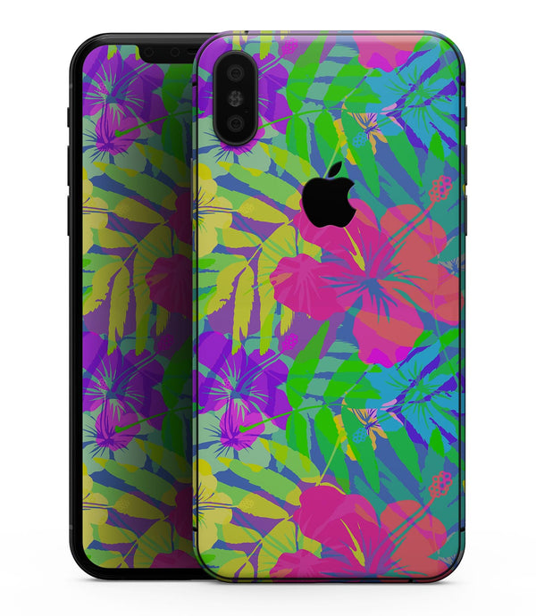 Tropical Fluorescent v1 - iPhone XS MAX, XS/X, 8/8+, 7/7+, 5/5S/SE Skin-Kit (All iPhones Available)