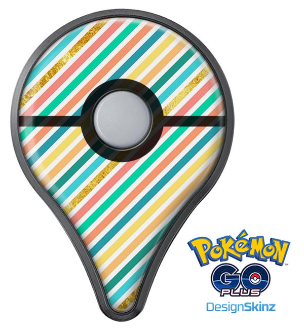 Tropical Summer Gold Striped v1 Pokémon GO Plus Vinyl Protective Decal Skin Kit