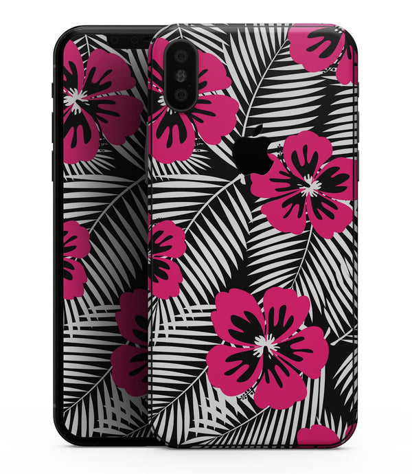 Tropical Summer Hot Pink Floral - iPhone XS MAX, XS/X, 8/8+, 7/7+, 5/5S/SE Skin-Kit (All iPhones Available)