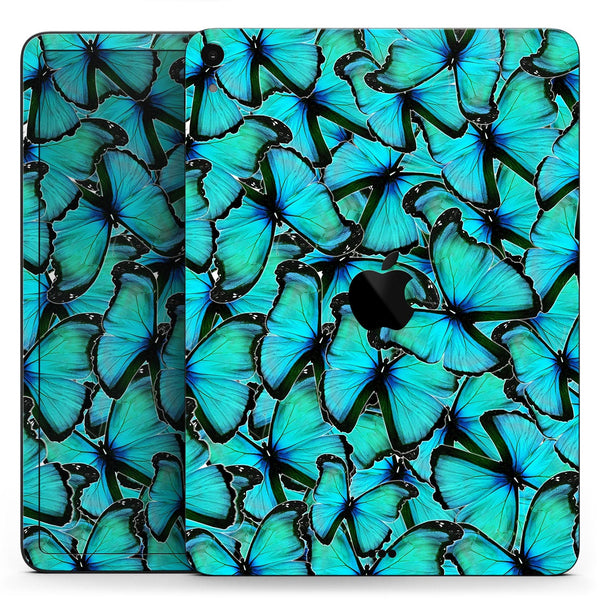 "Turquoise Butterfly Bundle - Full Body Skin Decal for the Apple iPad Pro 12.9"", 11"", 10.5"", 9.7"", Air or Mini (All Models Available)"