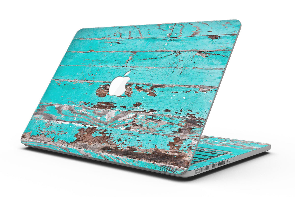 Turquoise Chipped Paint on Wood - MacBook Pro with Retina Display  Full-Coverage Skin Kit