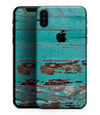 Turquoise Chipped Paint on Wood - iPhone XS MAX, XS/X, 8/8+, 7/7+, 5/5S/SE Skin-Kit (All iPhones Available)