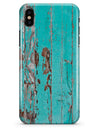 Turquoise Chipped Paint on Wood - iPhone X Clipit Case