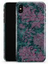 Turquoise and Burgundy Floral Velvet - iPhone X Clipit Case