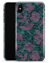 Turquoise and Burgundy Floral Velvet v2 - iPhone X Clipit Case